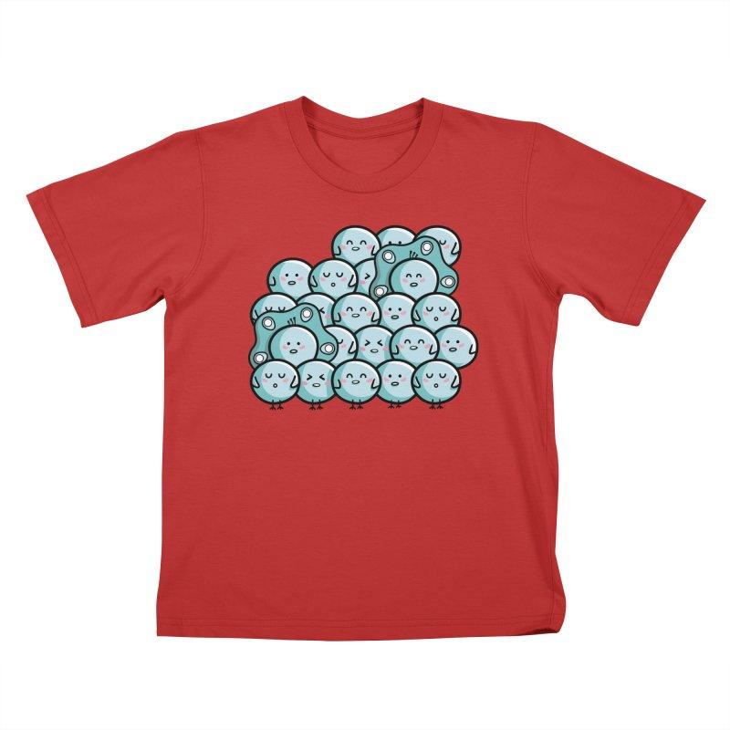 Kawaii Cute Peachicks Group Kids T-Shirt by Flaming Imp's Artist Shop