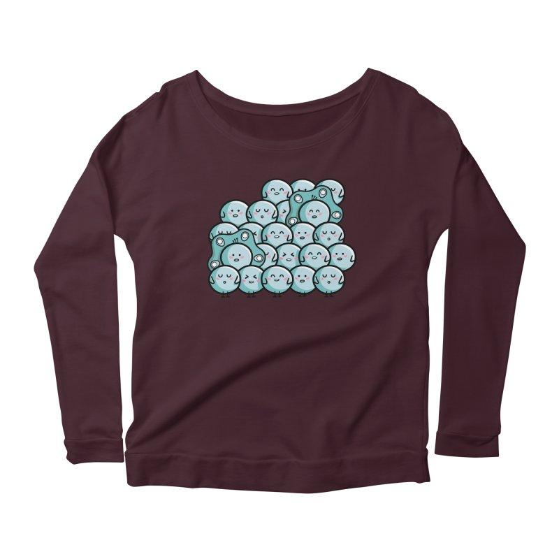 Kawaii Cute Peachicks Group Women's Scoop Neck Longsleeve T-Shirt by Flaming Imp's Artist Shop
