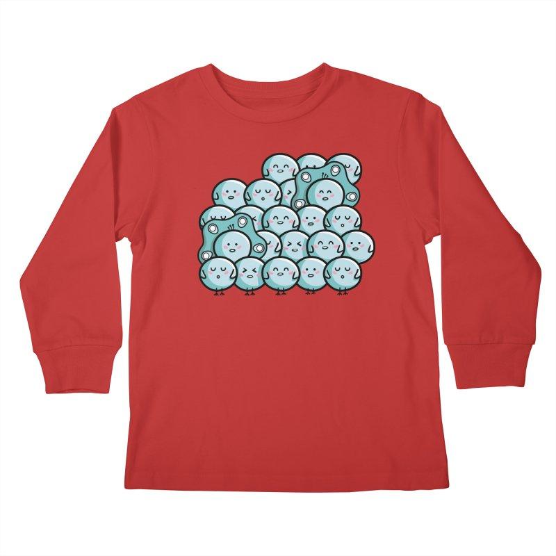Kawaii Cute Peachicks Group Kids Longsleeve T-Shirt by Flaming Imp's Artist Shop