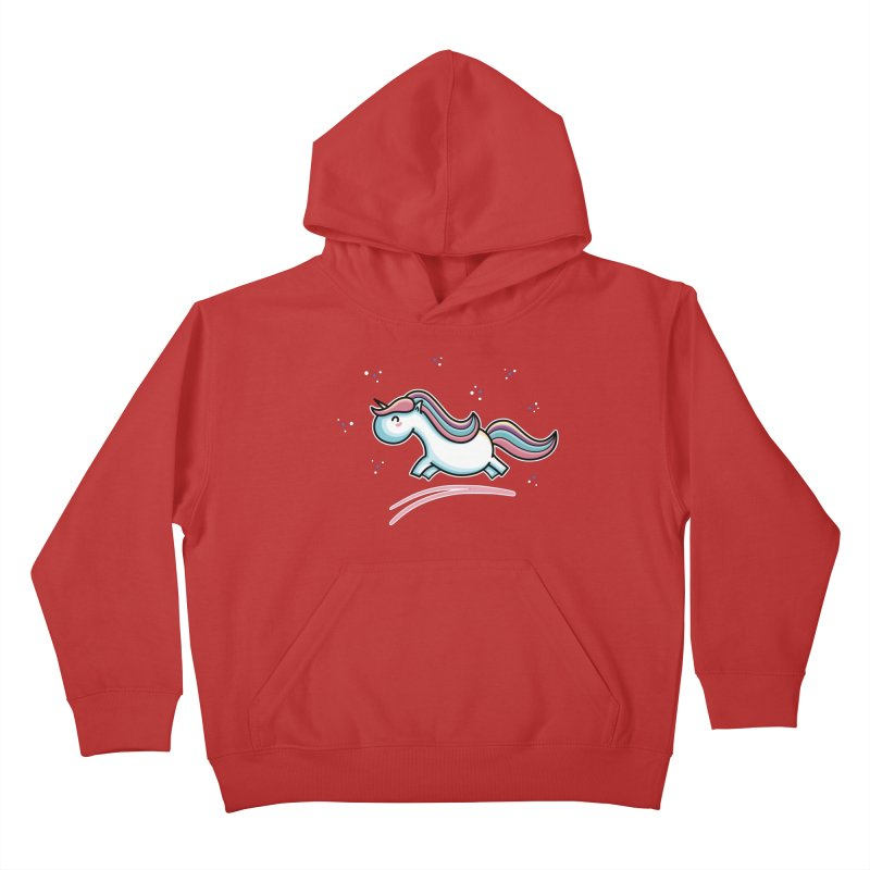 Kawaii Cute Leaping Unicorn Kids Pullover Hoody by Flaming Imp's Artist Shop