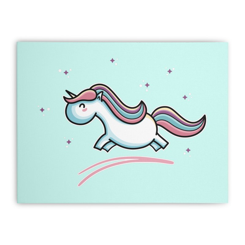 Kawaii Cute Leaping Unicorn Home Stretched Canvas by Flaming Imp's Artist Shop