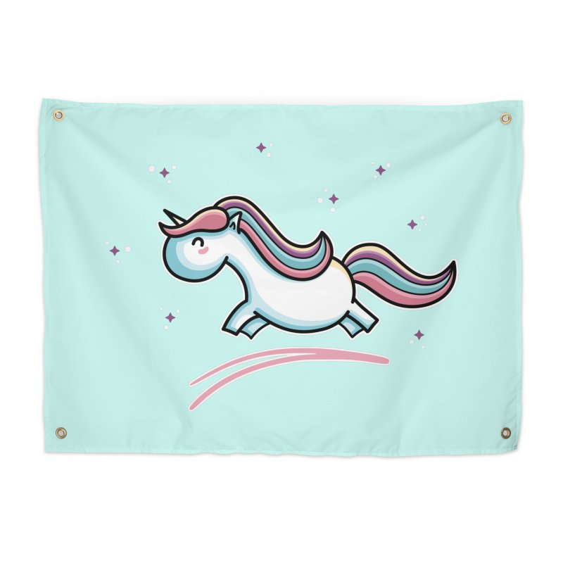 Kawaii Cute Leaping Unicorn Home Tapestry by Flaming Imp's Artist Shop
