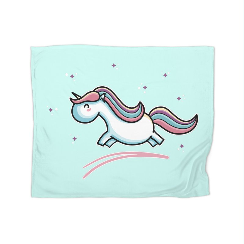 Kawaii Cute Leaping Unicorn Home Fleece Blanket Blanket by Flaming Imp's Artist Shop