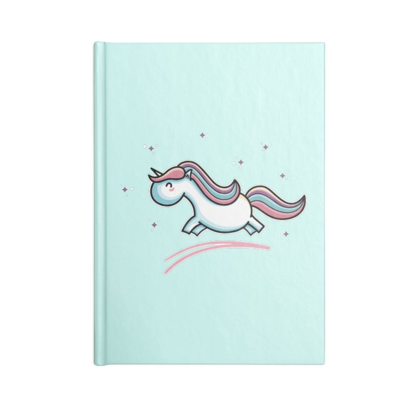 Kawaii Cute Leaping Unicorn Accessories Blank Journal Notebook by Flaming Imp's Artist Shop