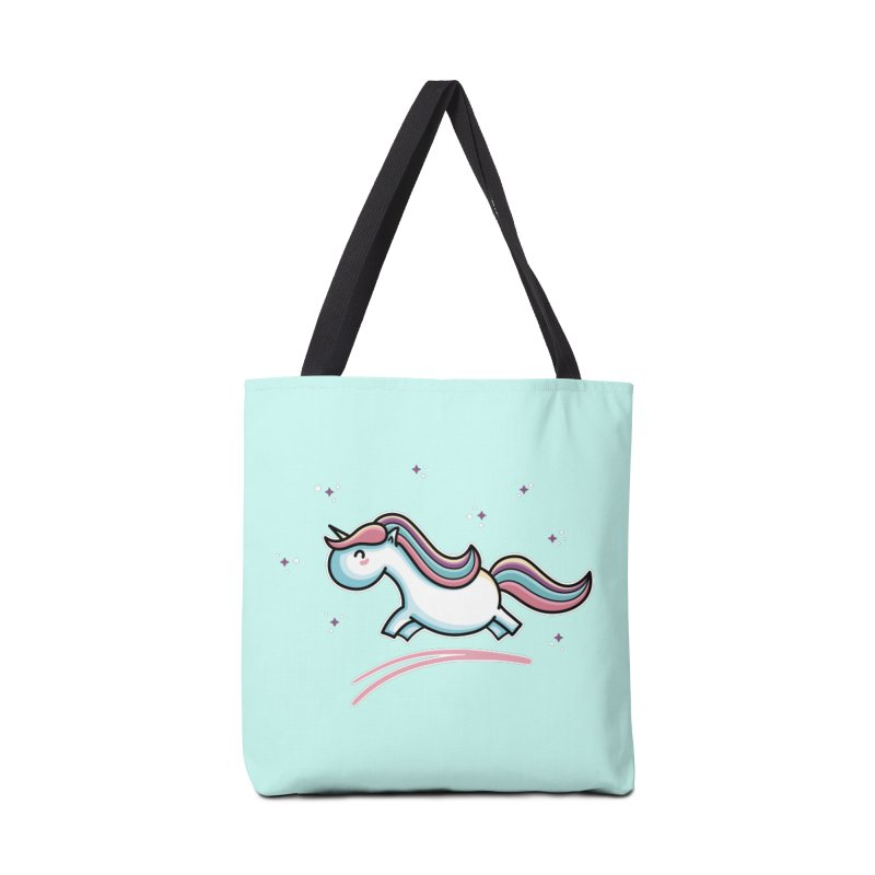 Kawaii Cute Leaping Unicorn Accessories Tote Bag Bag by Flaming Imp's Artist Shop