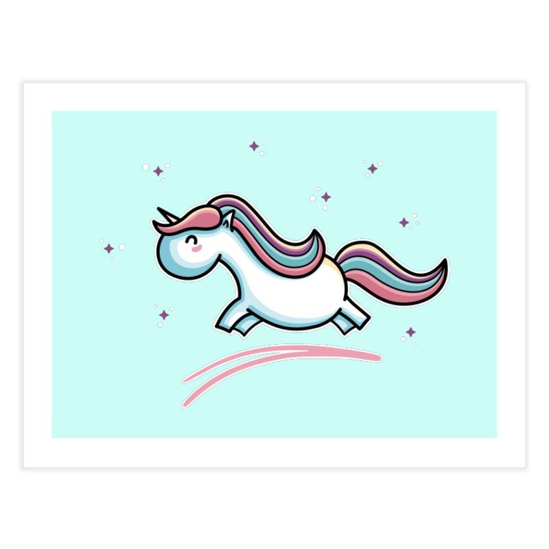 Kawaii Cute Leaping Unicorn Home Fine Art Print by Flaming Imp's Artist Shop