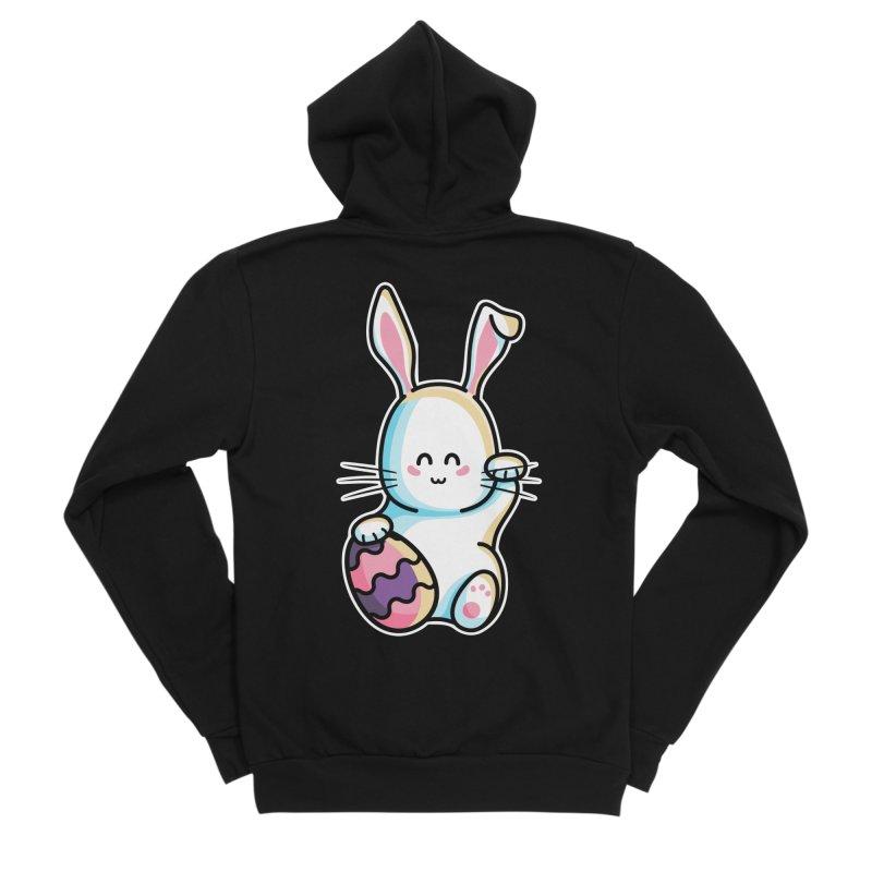 Lucky Rabbit Easter Bunny Men's Sponge Fleece Zip-Up Hoody by Flaming Imp's Artist Shop