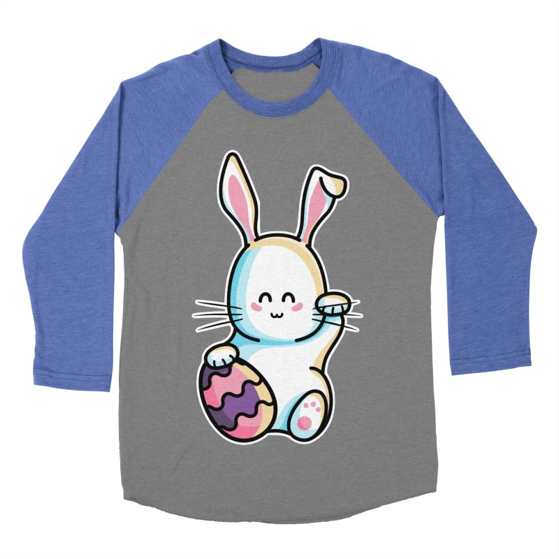 Lucky Rabbit Easter Bunny Men's Baseball Triblend Longsleeve T-Shirt by Flaming Imp's Artist Shop