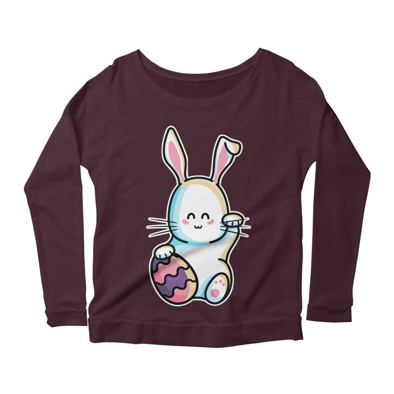 Lucky Rabbit Easter Bunny Women's Scoop Neck Longsleeve T-Shirt by Flaming Imp's Artist Shop