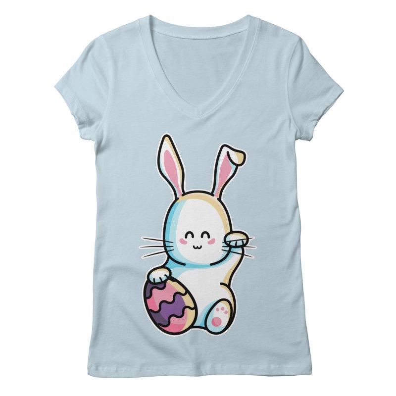 Lucky Rabbit Easter Bunny Women's Regular V-Neck by Flaming Imp's Artist Shop