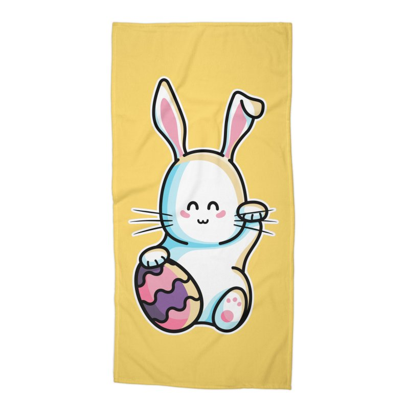 Lucky Rabbit Easter Bunny Accessories Beach Towel by Flaming Imp's Artist Shop