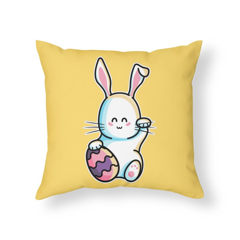 Lucky Rabbit Easter Bunny Home Throw Pillow by Flaming Imp's Artist Shop