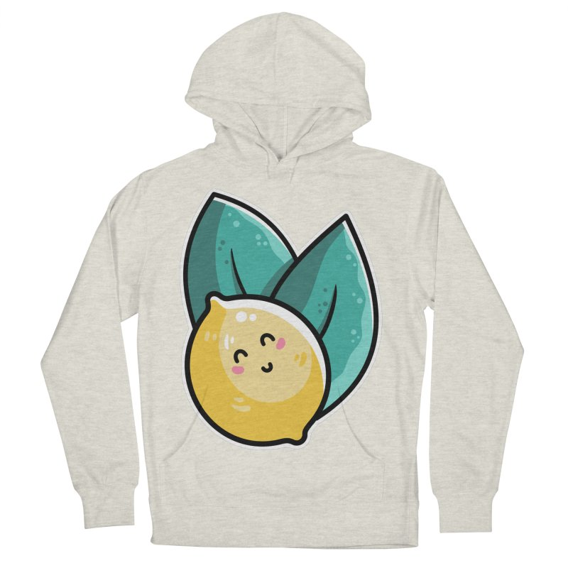Kawaii Cute Lemon and Leaves Women's French Terry Pullover Hoody by Flaming Imp's Artist Shop