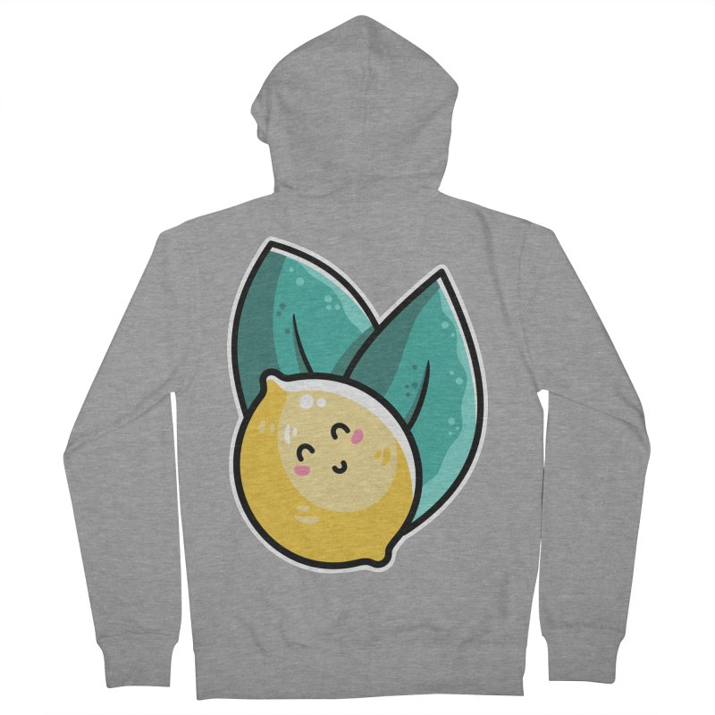 Kawaii Cute Lemon and Leaves Men's French Terry Zip-Up Hoody by Flaming Imp's Artist Shop