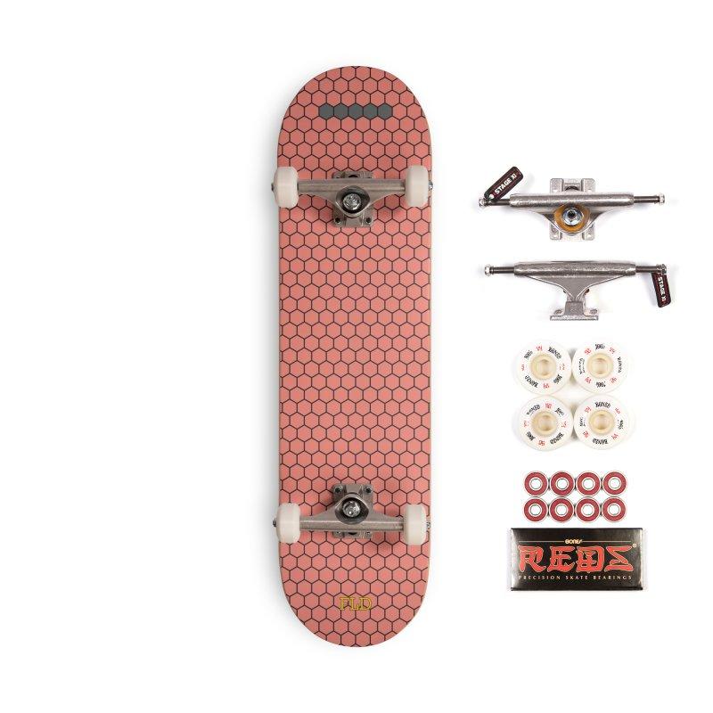 Coral Honeycomb Skateboard Accessories Complete - Pro Skateboard by falconlara.design shop