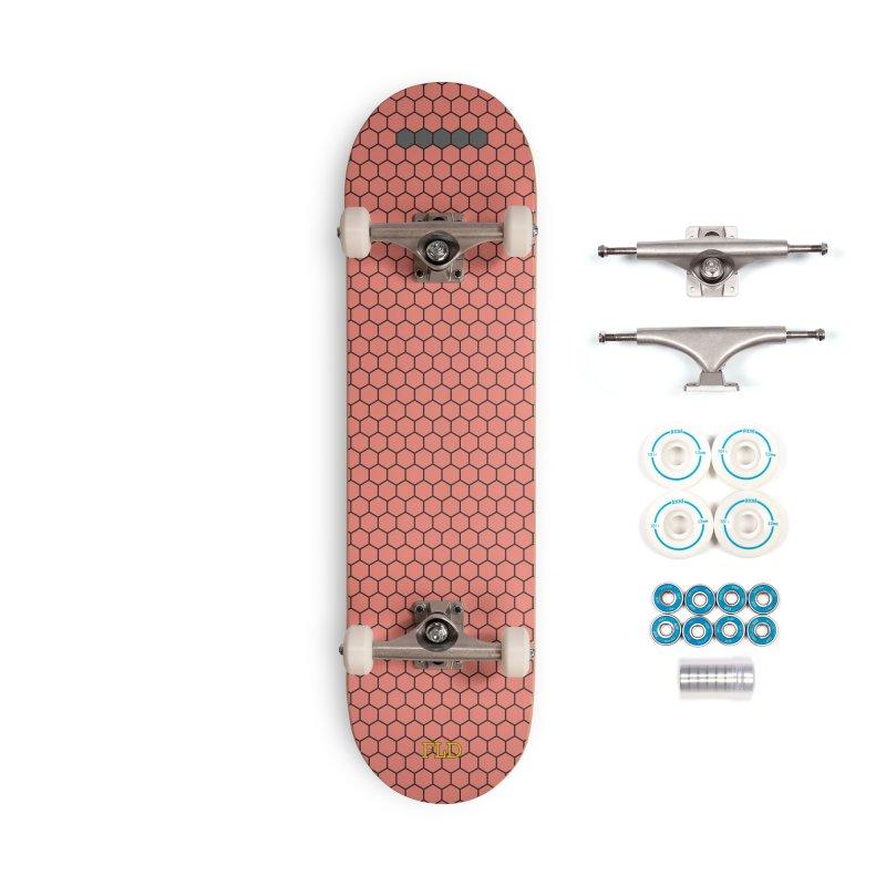 Coral Honeycomb Skateboard Accessories Complete - Basic Skateboard by falconlara.design shop