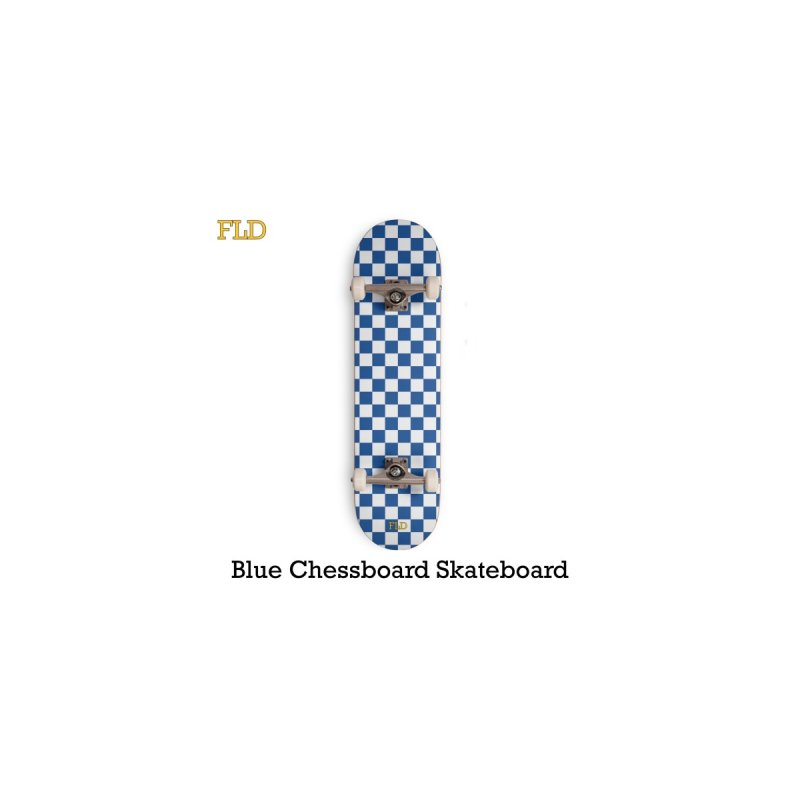 Blue Chessboard Skateboard Accessories Skateboard by falconlara.design shop
