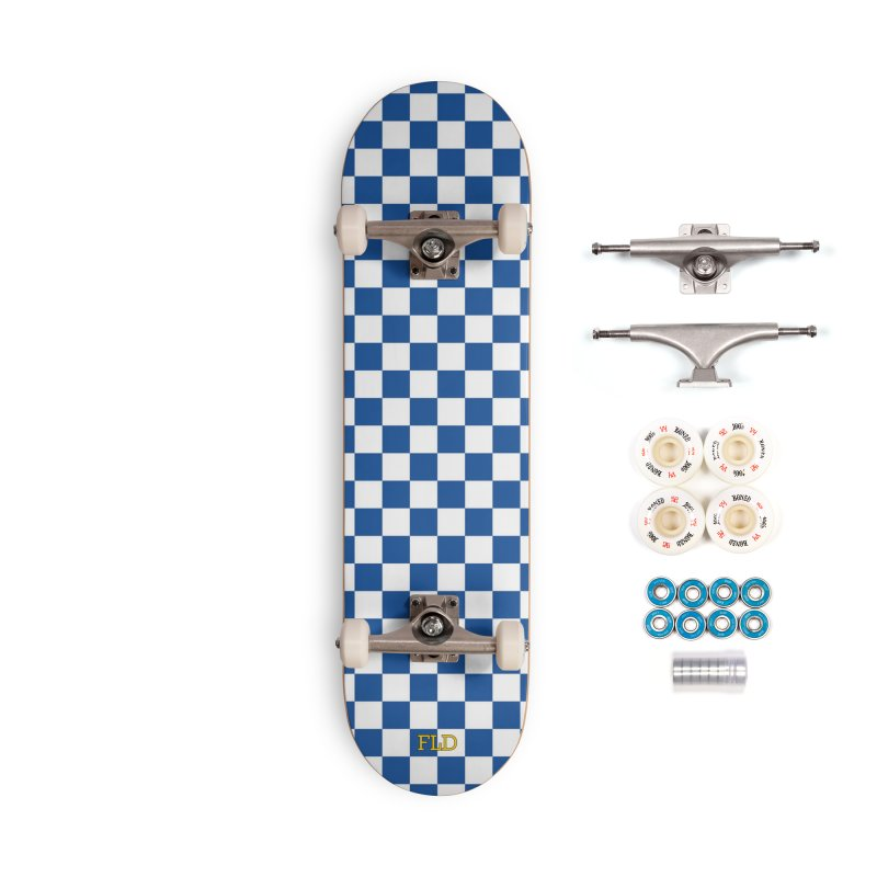 Blue Chessboard Skateboard Accessories Complete - Premium Skateboard by falconlara.design shop