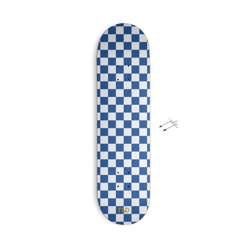 Blue Chessboard Skateboard Accessories With Hanging Hardware Skateboard by falconlara.design shop