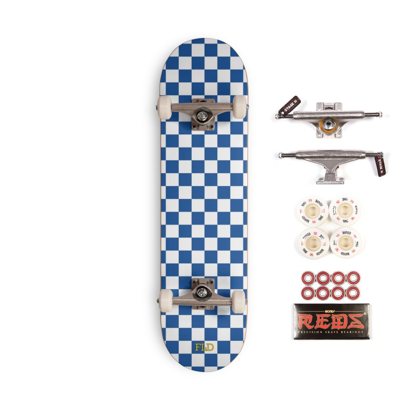 Blue Chessboard Skateboard Accessories Complete - Pro Skateboard by falconlara.design shop