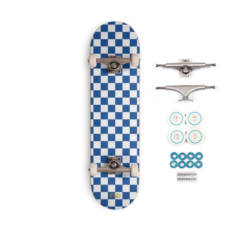 Blue Chessboard Skateboard Accessories Complete - Basic Skateboard by falconlara.design shop