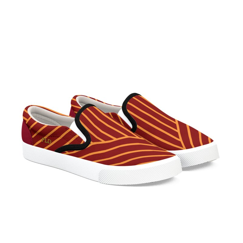 Slant And Down Shoes-Red Women's Slip-On Shoes by falconlara.design shop