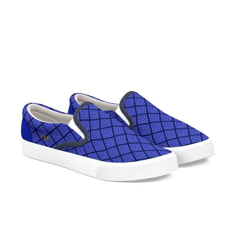 FLD Box Pattern Shoes- Blue Women's Slip-On Shoes by falconlara.design shop