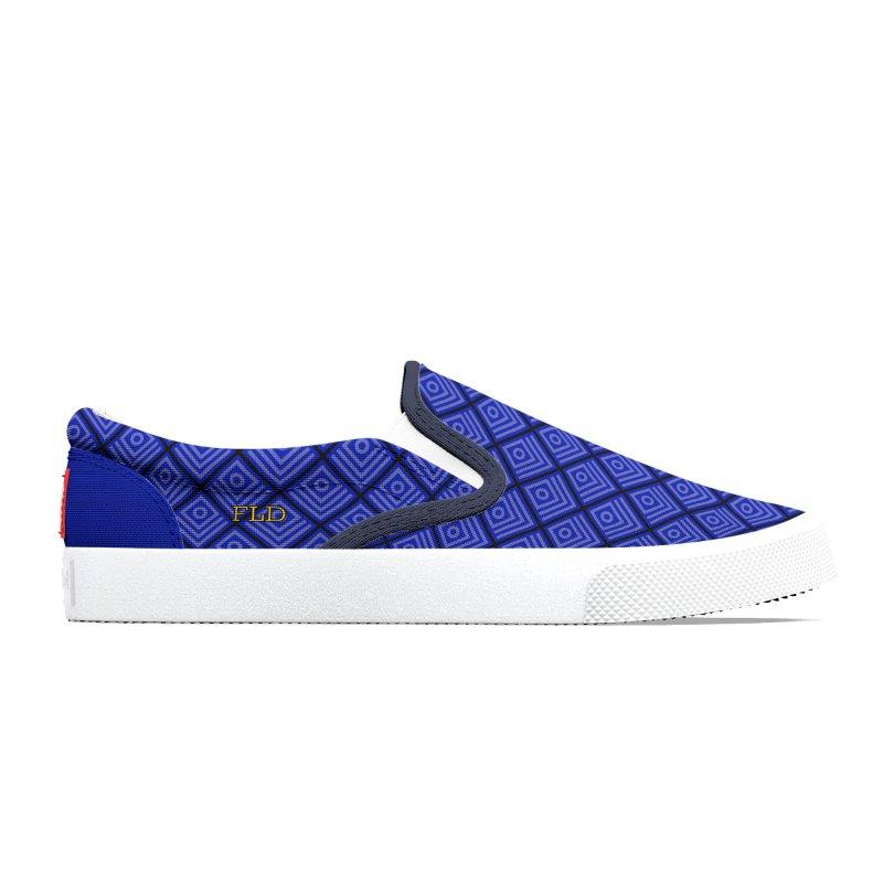 FLD Box Pattern Shoes- Blue Men's Shoes by falconlara.design shop