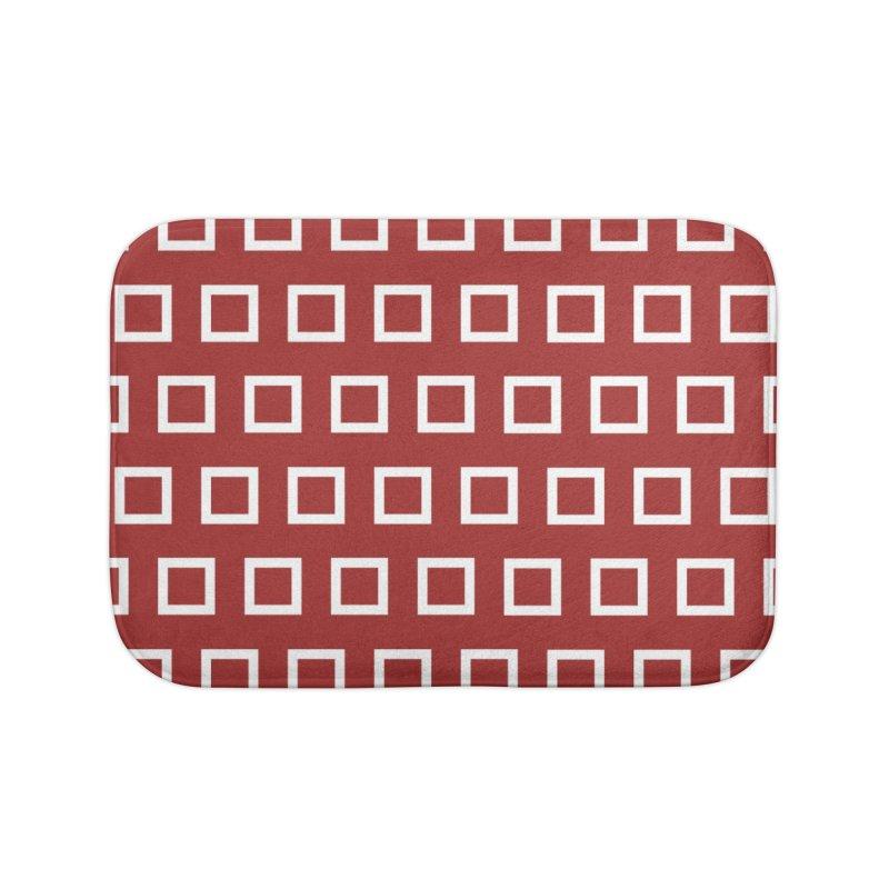 Mid-Century White Squares Home Bath Mat by falconlara.design shop