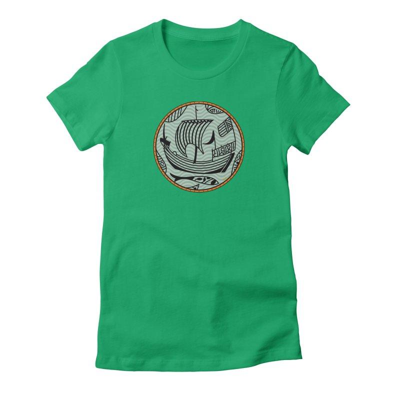 Viking Boat Women's Fitted T-Shirt by falconlara.design shop