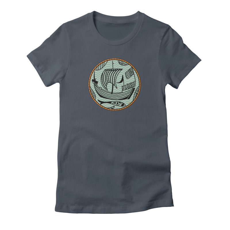 Viking Boat Women's Fitted T-Shirt by falconlara.design shop