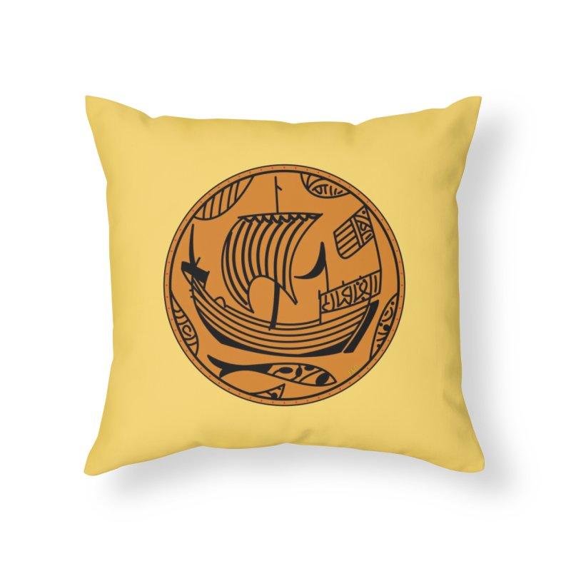 Viking Boat Home Throw Pillow by falconlara.design shop