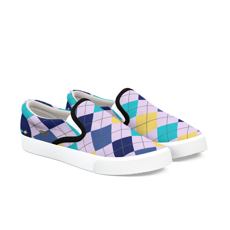 FLD IBTY Argyle Shoes Women's Slip-On Shoes by falconlara.design shop