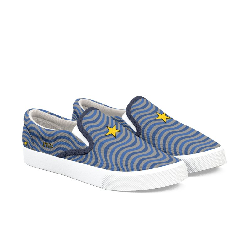 FLD Blue Waves Shoes Women's Slip-On Shoes by falconlara.design shop