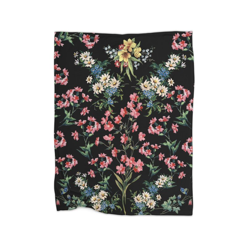Bouquet On Black Home Fleece Blanket Blanket by falconlara.design shop