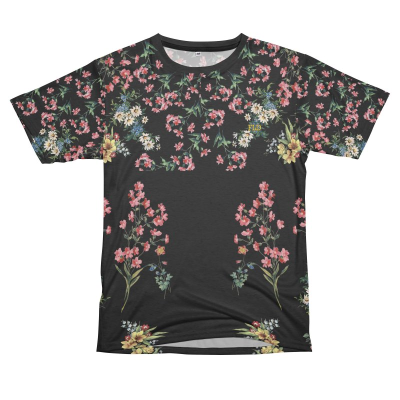 Bouquet On Black Men's French Terry T-Shirt Cut & Sew by falconlara.design shop