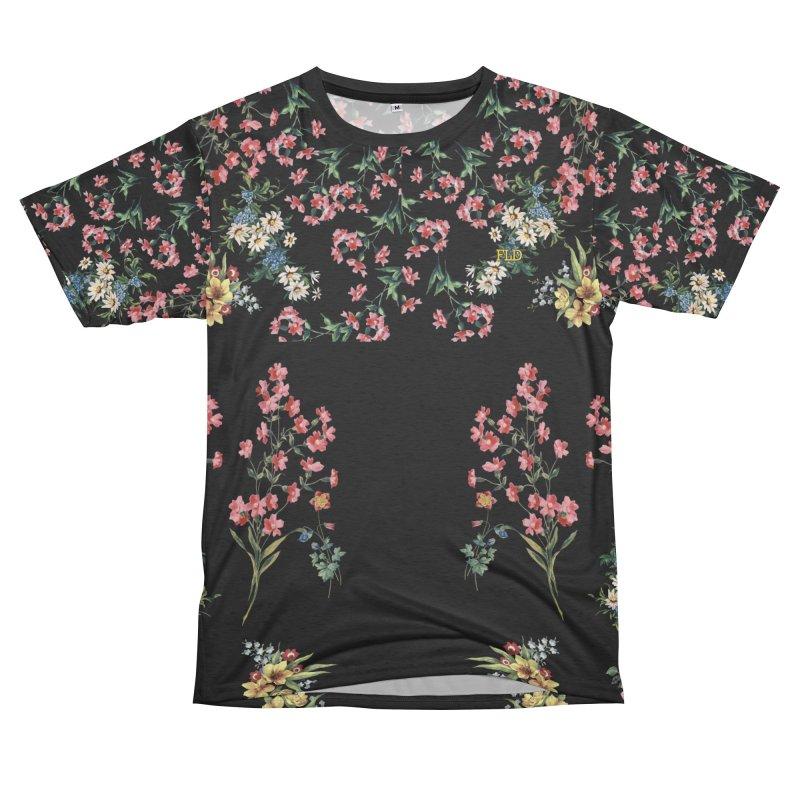 Bouquet On Black Women's Unisex French Terry T-Shirt Cut & Sew by falconlara.design shop