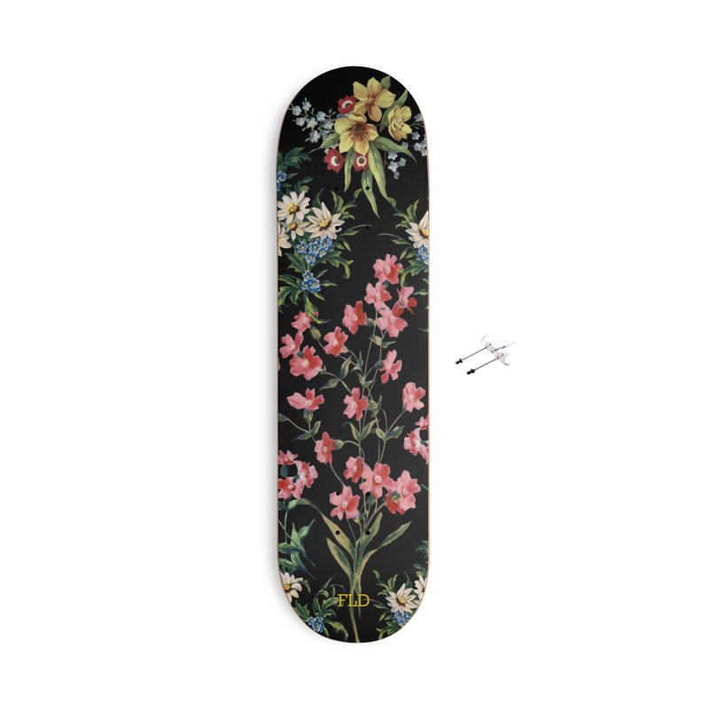 Bouquet On Black Accessories With Hanging Hardware Skateboard by falconlara.design shop