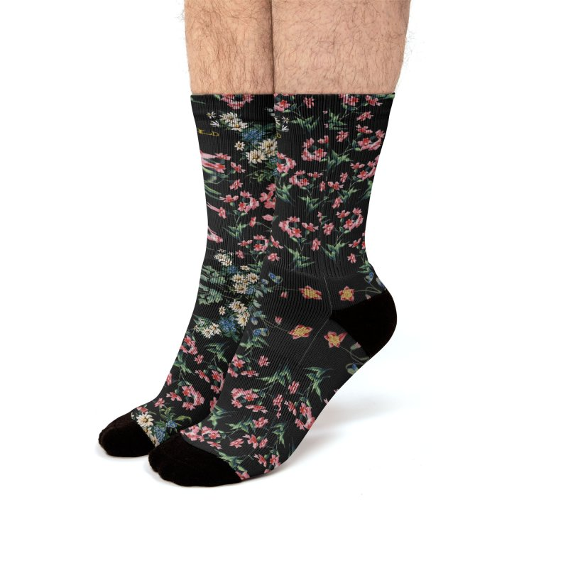 Bouquet On Black Men's Crew Socks by falconlara.design shop