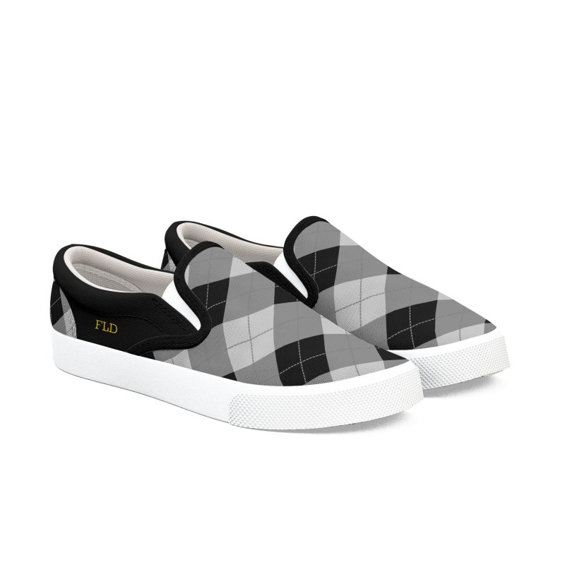 FLD Black-Gray Argyle Men's Slip-On Shoes by falconlara.design shop