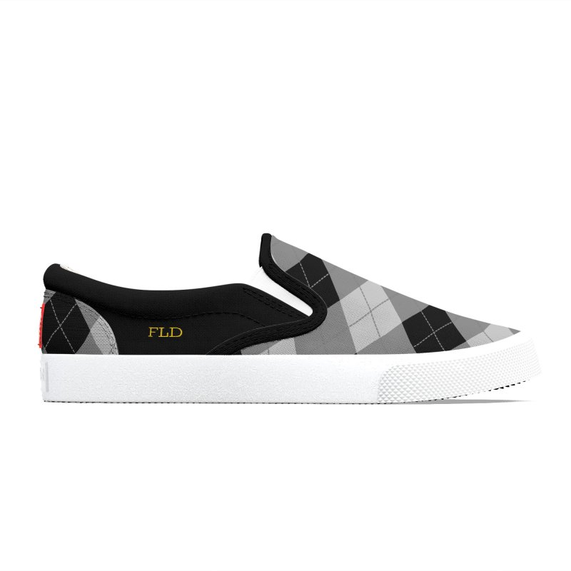 FLD Black-Gray Argyle Men's Shoes by falconlara.design shop