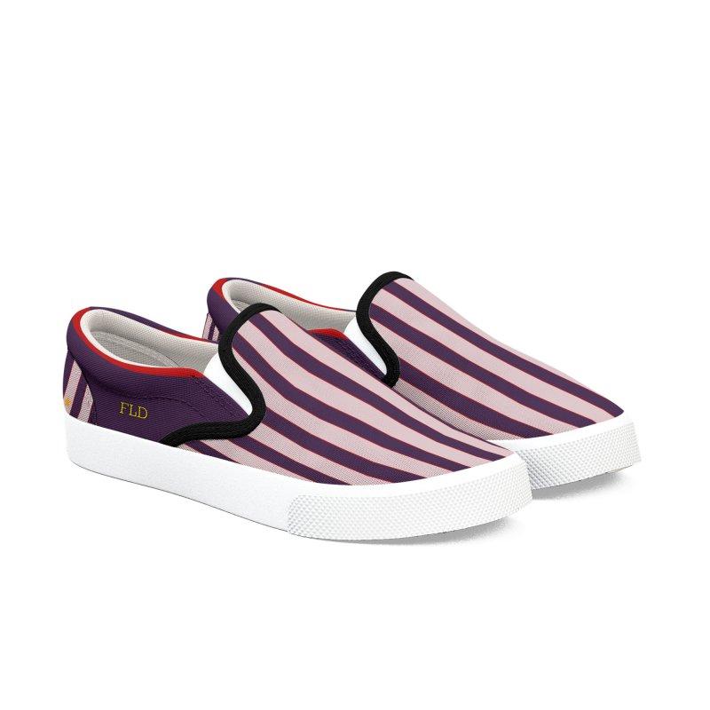 FLD Purple Stripes Shoes Men's Slip-On Shoes by falconlara.design shop