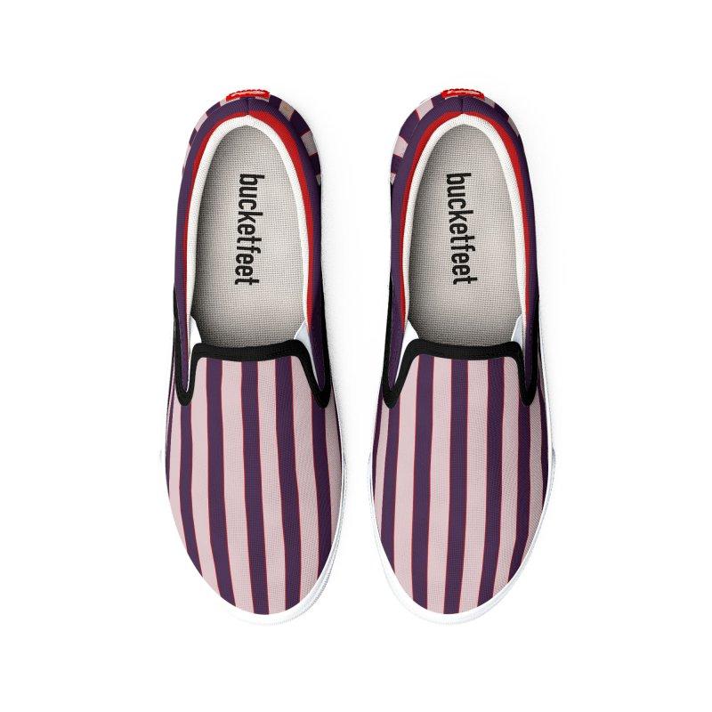 FLD Purple Stripes Shoes Men's Shoes by falconlara.design shop