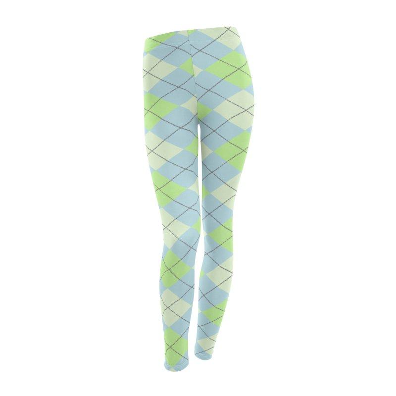 Lime Moss Sky Argyle Women's Leggings Bottoms by falconlara.design shop