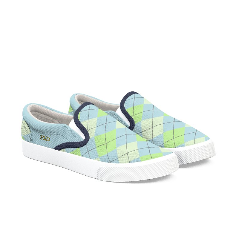 Lime Moss Sky Argyle Men's Shoes by falconlara.design shop