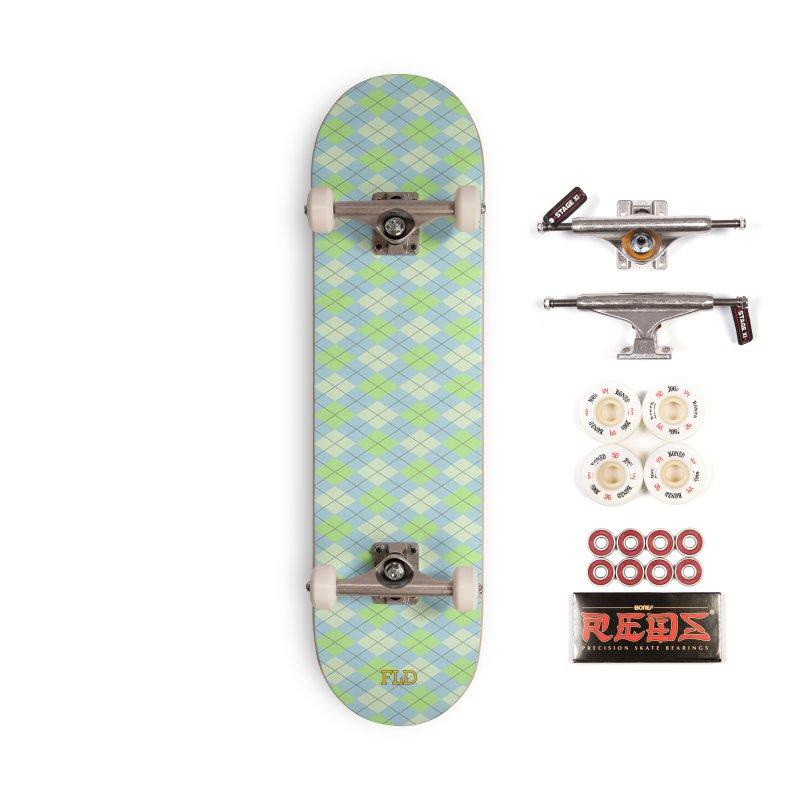 Lime Moss Sky Argyle Accessories Complete - Pro Skateboard by falconlara.design shop
