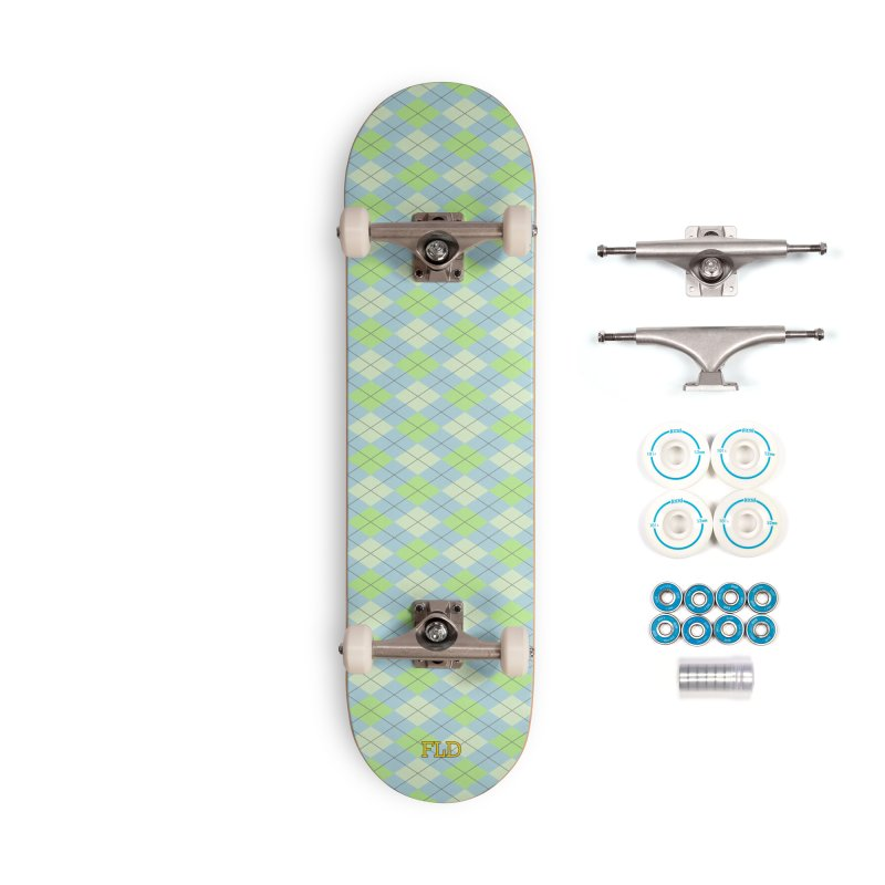 Lime Moss Sky Argyle Accessories Complete - Basic Skateboard by falconlara.design shop