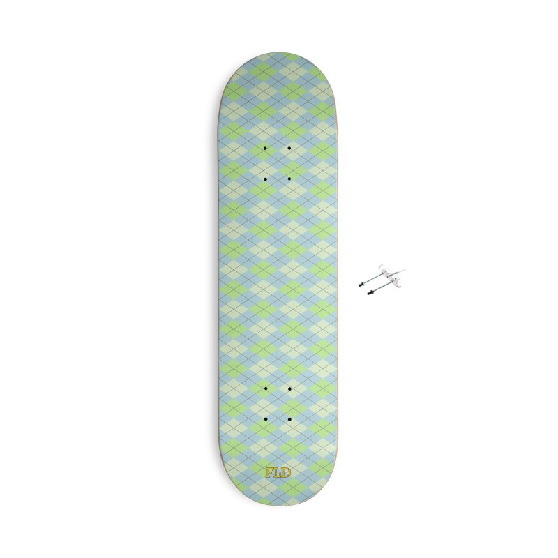 Lime Moss Sky Argyle Accessories With Hanging Hardware Skateboard by falconlara.design shop