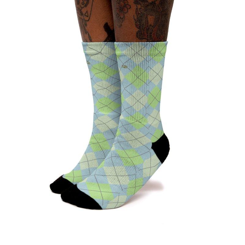 FLD Lime Moss Sky Argyle Women's Crew Socks by falconlara.design shop