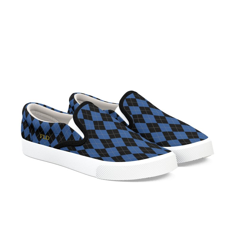 FLD Black And Blue Argyle Men's Slip-On Shoes by falconlara.design shop